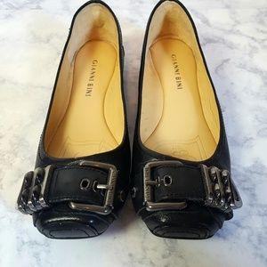 Gianni Bini Black Leather Buckle Ballet Flat Shoe